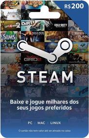 Gift Card Steam - Cartão Pré-pago R$ 200 Reais De Crédito