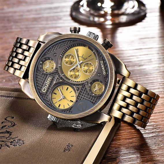 Relógio Oulm Horario Dual Time Original Promoção!!!