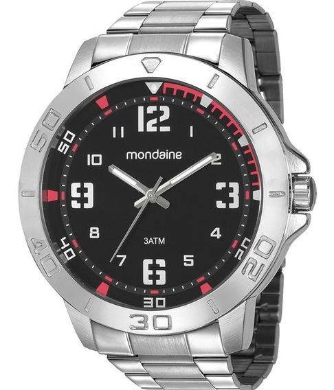 Relógio Mondaine Masculino Analógico Prata Preto Garantia