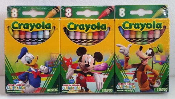 Giz De Cera Mickey Mouse 24 Cores Crayola