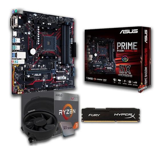 Kit Amd Ryzen 3 2200g + Asus Prime B450m-gaming/br+ 16gb Ddr