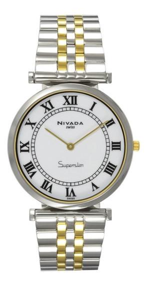 Reloj Nivada Swiss Superslim Ng3989gbicbr Original Caballero