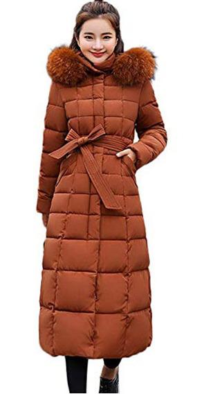 Abrigo Mujer Piel Sintética Larga Con Capucha Color Liso