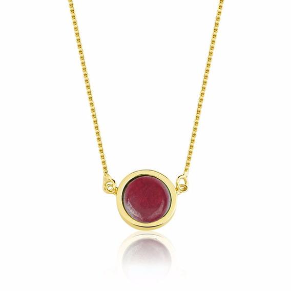 Colar Semijoia Pedra Redonda Jade Vermelha Folheado Ouro 18k