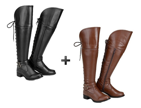 Kit Com 2 Pares De Bota Over The Knee Acima Do Joelho Couro Eco Escolha Do Cliente Cores Disponíveis Promoção Ajustável