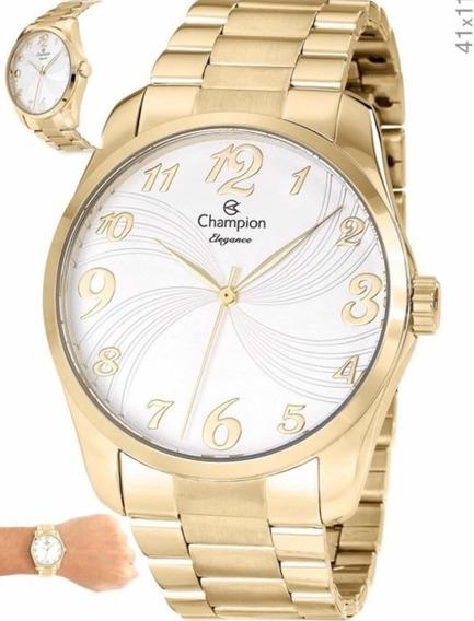 Relógio Champion Feminino Dourado Com Kit Cn26715w
