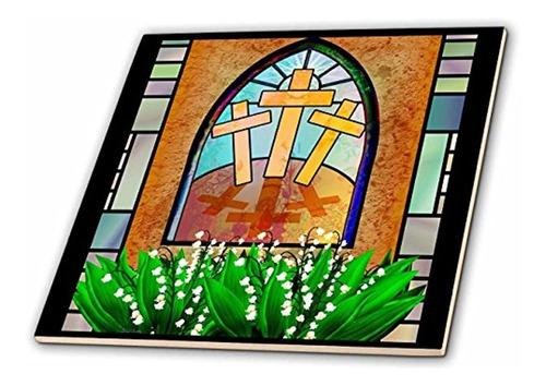3drose Ct_11636_7 Un Colorido Vitral De La Cruz De Jesus En