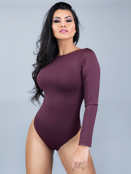 Body Feminino Collant Manga Longa Costa Nua Decote Blusa