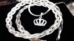 Corrente Feminina 3 Fios Colar Liso Pingente Coroa Prata 925