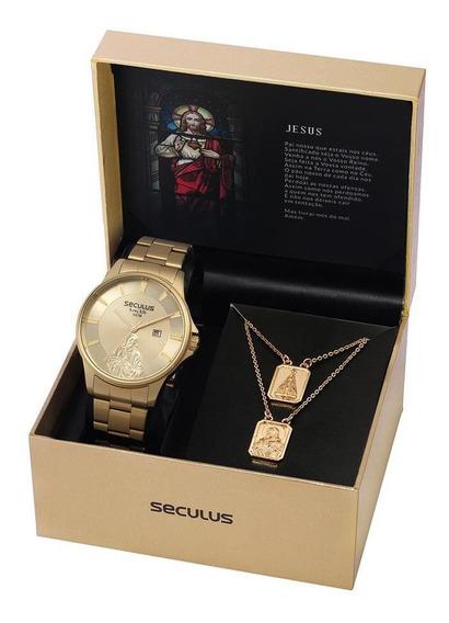 Relógio Seculus Masculino 28919gpskda1 Dourado Escapulário