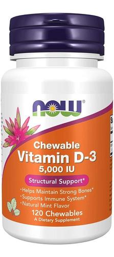 Imagen 1 de 2 de Now Vitamina D3 Ayuda Corazon Huesos 5,000iu 120 Masticables