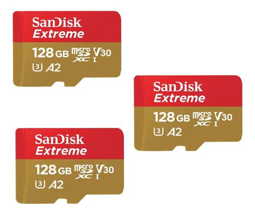 Kit 3 Cartão De Memória Sandisk Extreme Sdsqxa2- J4n0 128gb