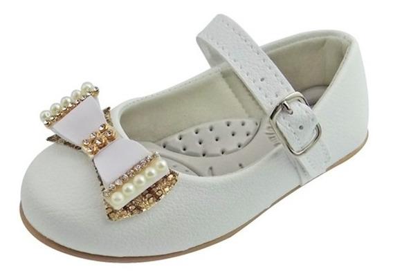 Sapato Boneca Baby Com Laço, Strass E Pérola - Branco