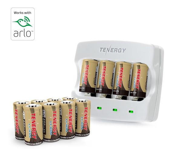 Baterias Tenergy 3,7v Rcr123a De 650mah Arlo + Carreg Rápido