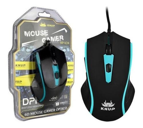 Mouse Gamer 2400 Dpi 6 Botões , Azul  Knup