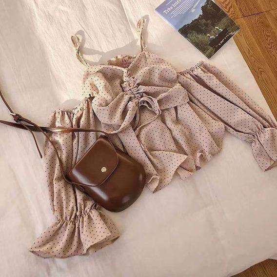 Ombro Frio Sensual Blusa Ponto Mulheres Camisa Pontilhado Co
