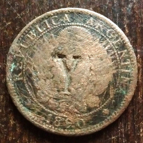 Moneda 2 Centavos Argentina 1890 Con Sello Y Regular