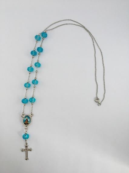 Colar De Inox Com Contas De Pedra Azul