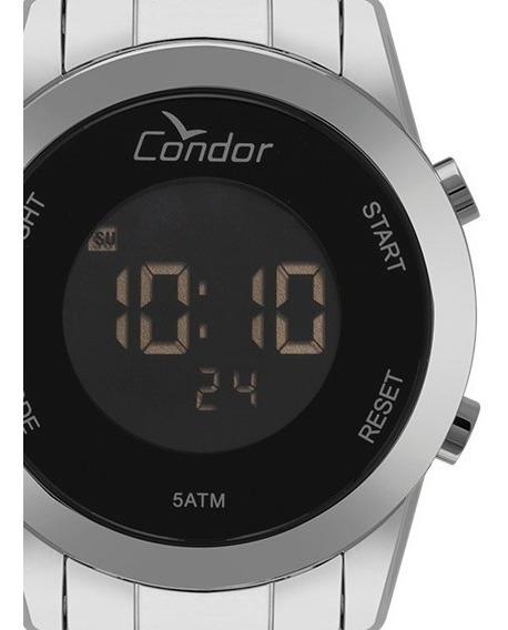 Relógio Condor Prata Preto Feminino Digital Aço Cobj3279ab/3p Original - Promoção