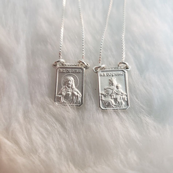 Escapulário Prata 925 N.s. Do Carmo S.c. De Jesus 2.5g
