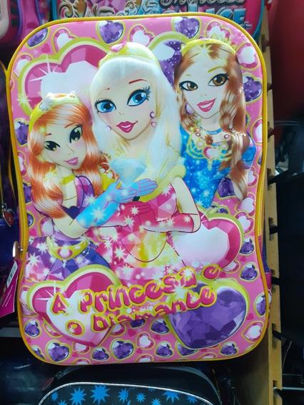 Mochila Infantil Escolar Princesas Com Desenho 3d