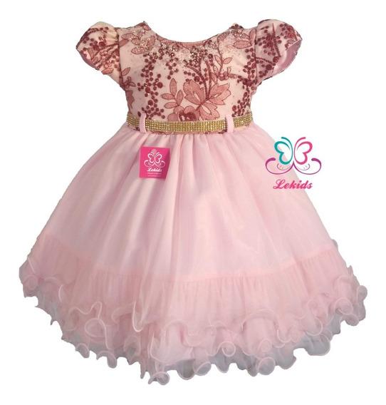 Vestido Luxo Festa Daminha Realeza Marsala E Rosa 1 A 3 Anos
