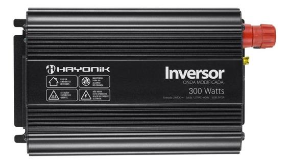 Inversor 300w 24v/127v Onda Modificada Cinza Escuro Hayonik