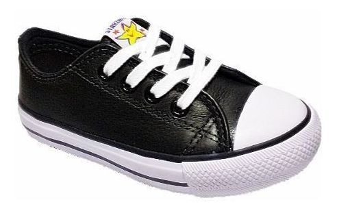 Tênis Super Star Infantil Leather Couro Preto De R$99,90 Por