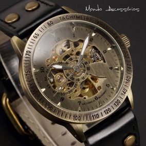 Relógio De Pulso Skeleton Masculino Mecânico Automático Aço