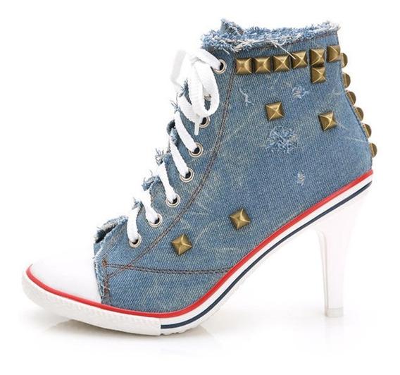 Tênis Jeans De Salto Com Spikes Sneakers