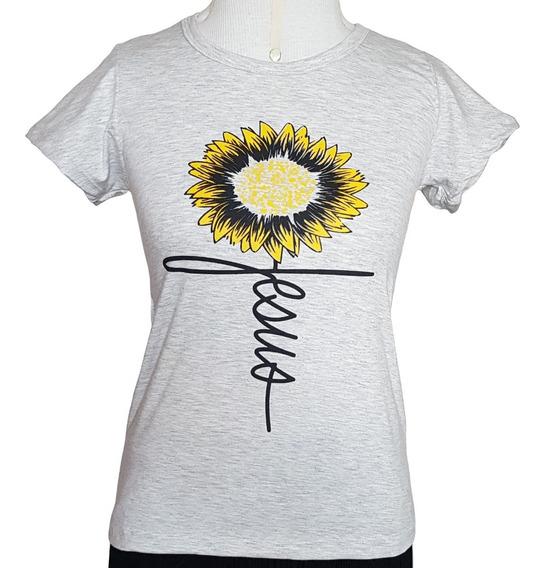 Camiseta Feminina Religiosa Cristã Católica Girassol Jesus