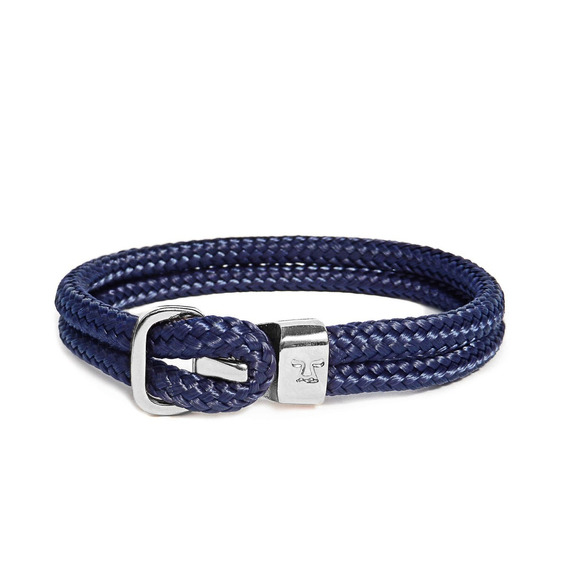 Brazalete Monet Níquel Pulido Y Textil Azul