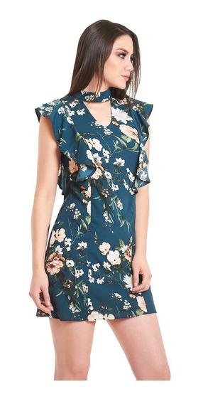 Vestido Verde Con Estampado Floral Escote En V Devendi