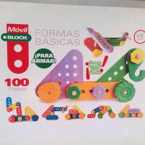 Formas Básicas Movilblock 100 Piezas Goma Eva Y Madera