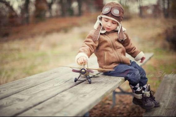 Touca Aviador Ensaio Fotográfico Infantil 2-7 Anos Ajustável