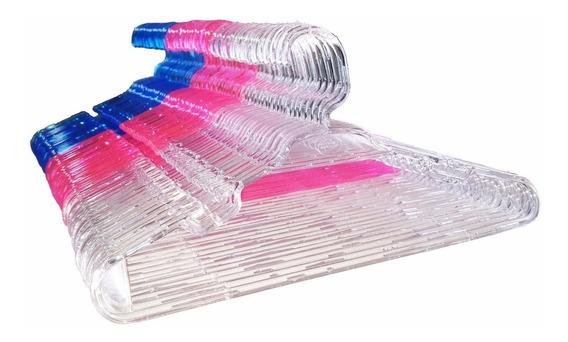 Cabide Infantil Cristal Acrílico Transparente - 50 Peças