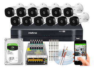 Kit Cftv Intelbras 12 Cameras Vhl 1220 B 1080p Dvr 16 Canais