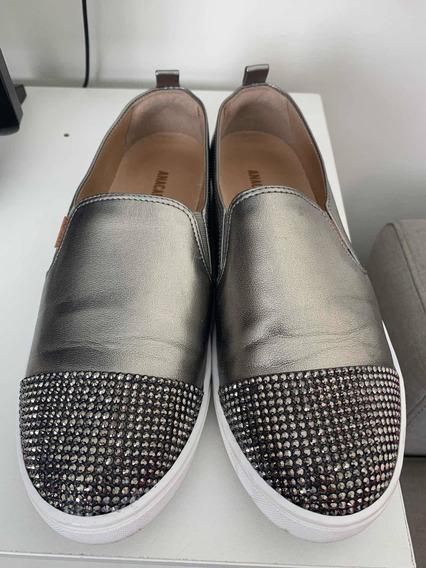 Sapato Cinza Com Taxinhas Ana Capri, 38
