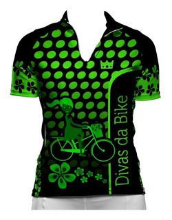 Camisa De Ciclismo Feminina Divas Da Bike Neon Preta