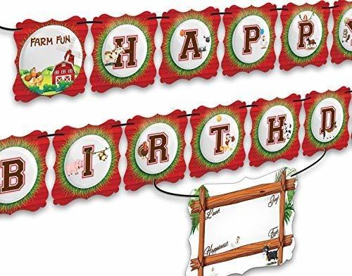Banner De Fiesta De Cumpleaños Premium De Granja, Dos Capas,