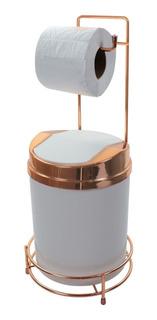 Suporte Para Papel Higiênico Rosé Gold Lixeira 5l Basculante