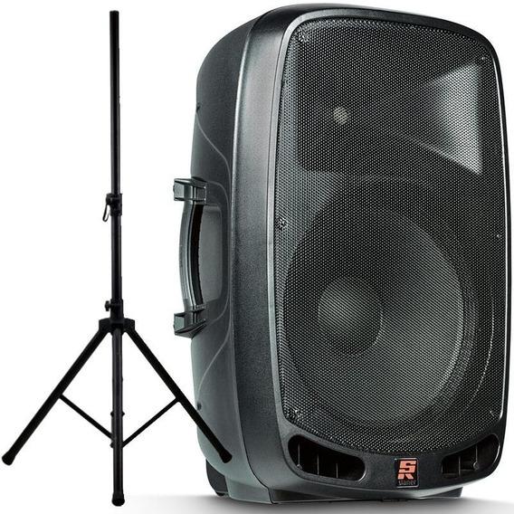 Caixa De Som Staner Ativa Amplificada Ps1501 Ps 1501 Bluetooth + Suporte Tripé Falante De 15