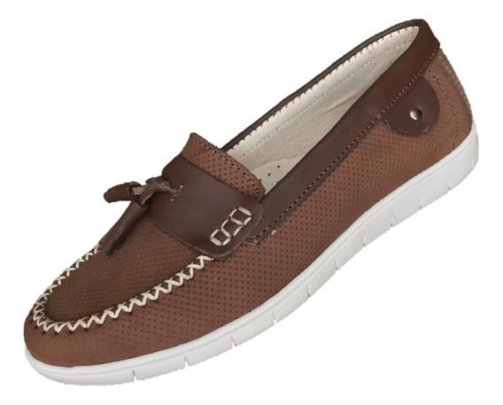Zapato Mocasín Dama Mujer Mu 1011 Nobuck Grabado Cafe Piel