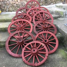 Roda De Carreta Antiga Madeira Galpão Carroça Pequena 349