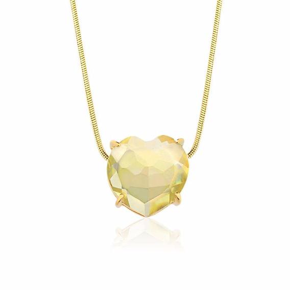 Colar Semijoia Fina Coração Pedra Natural Quartzo Green Gold