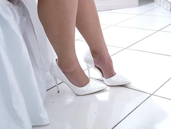 Sapato Feminino Scapin Branco Noiva Casamento Glitter