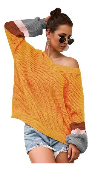 Suéter Con Cuello En V Para Mujer