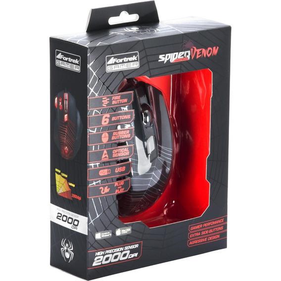 Mouse Gamer Spider Venom Om-704 Preto | Vermelho Fortrek
