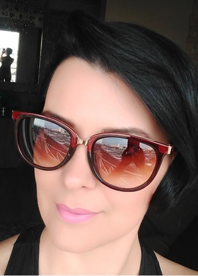 Óculos De Sol Feminino Escuro Degrade Quadrado Proteção Uv