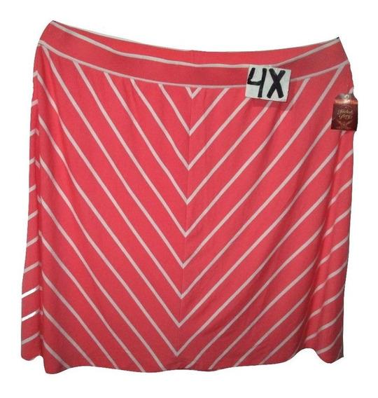 Falda Casual/vestir Coral Raya Blancas Talla 4x Faded Glory